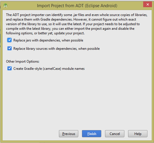 How to import Eclipse Adt Android project in Android Studio