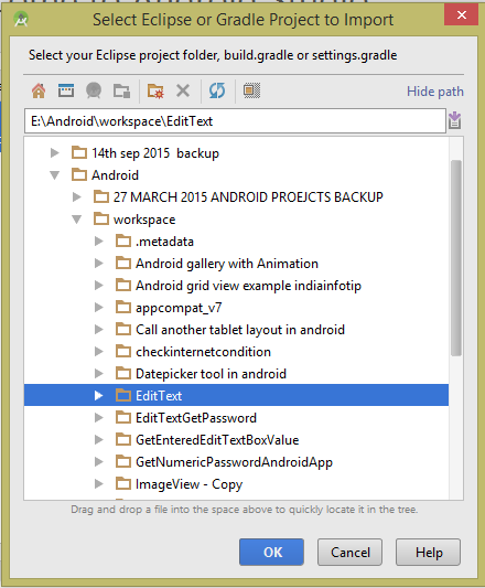 select eclipse or gradle project to import