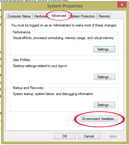 set environment variables in windows for android development