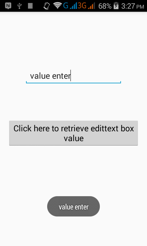 How to get EditText box entered value on android app