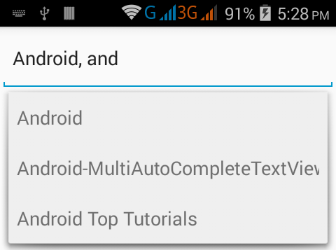 Android MultiAutoCompleteTextView Tutorial Example