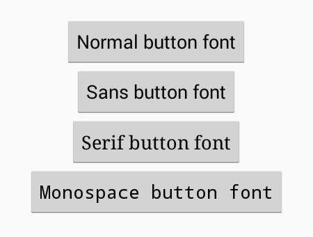 Change button above text font style in android