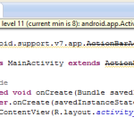 Call Requires API level 11 (current min is 8) Android.App.Activity#onCreateView