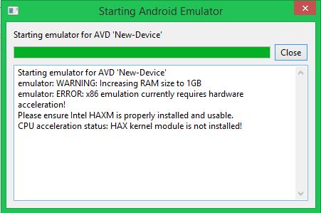 Emulator error x86 emulation currently requires hardware acceleration android studio