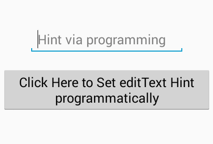 Set hint in edittext in android programmatically