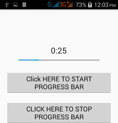 Start stop progress bar on button click in android - Android