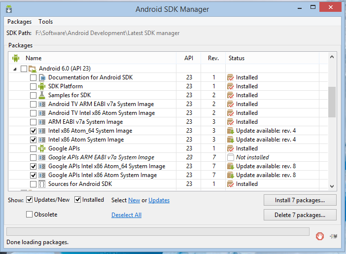How to install Android 6.0 Marshmallow on SDK Manager
