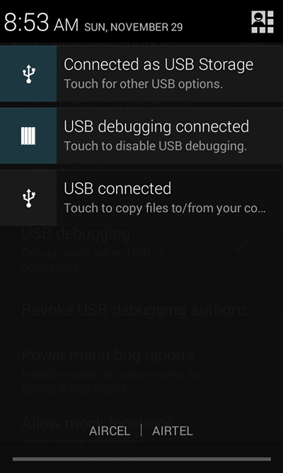 usb debugging connected