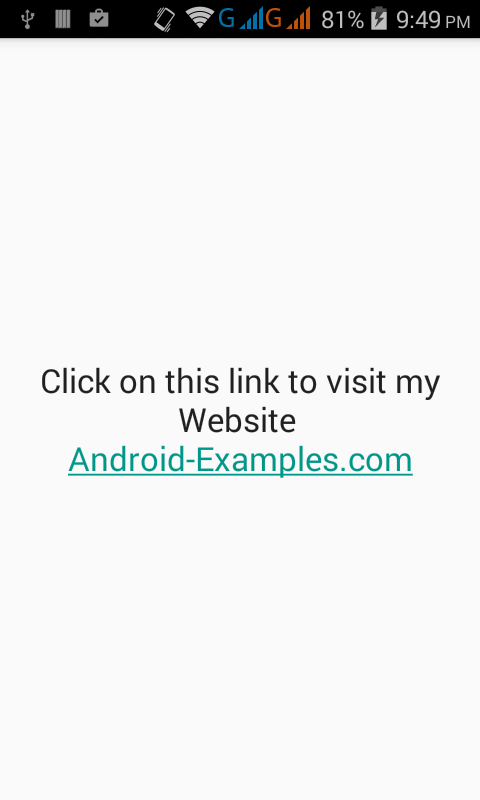 Add Hyperlink in android application through textview