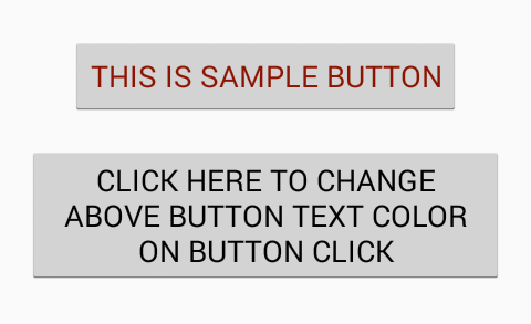 Change button upper text programmatically android - Android Examples