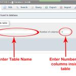 Create table in MySQL db using phpmyadmin xampp server