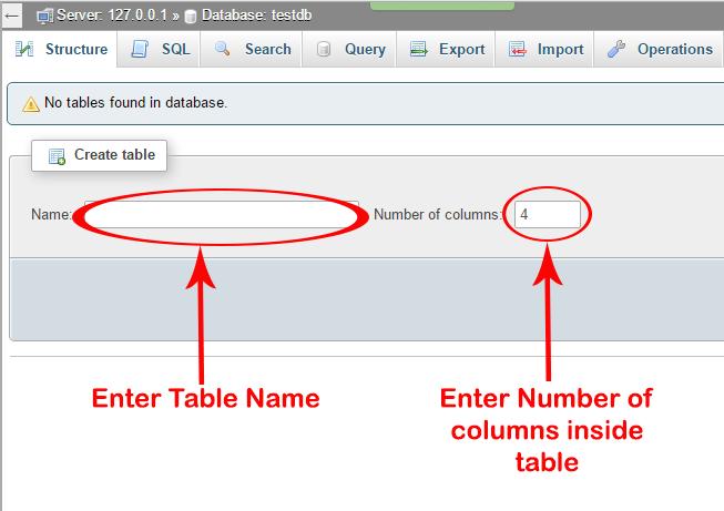 Create table in mysql db using phpmyadmin xampp server android examples - Mysql create table example ...