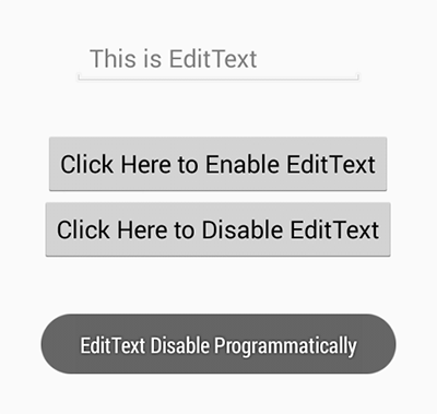 Enable disable edittext input in android programmatically
