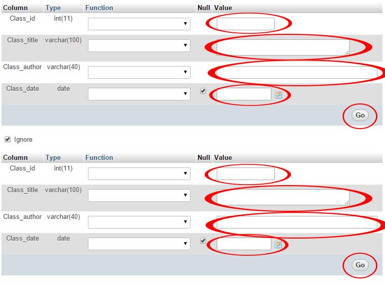 Directly insert data into MySQL db table using phpmyadmin