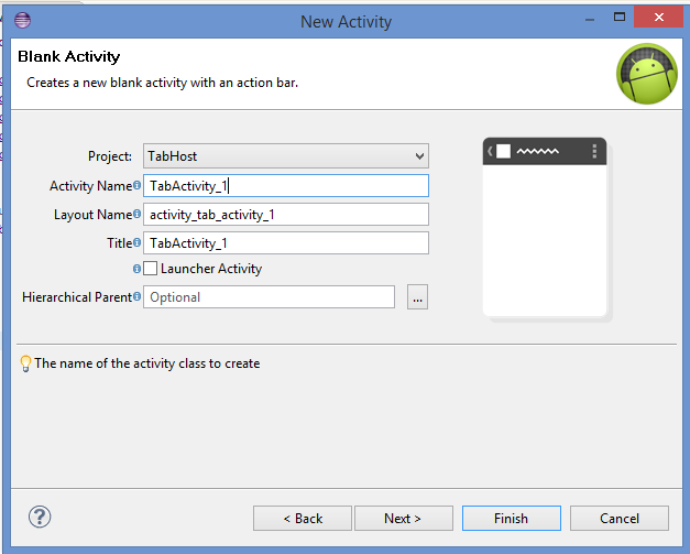 Add new android activity in existing Eclipse project without