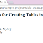 Create table into MySQL db using Php script dynamically