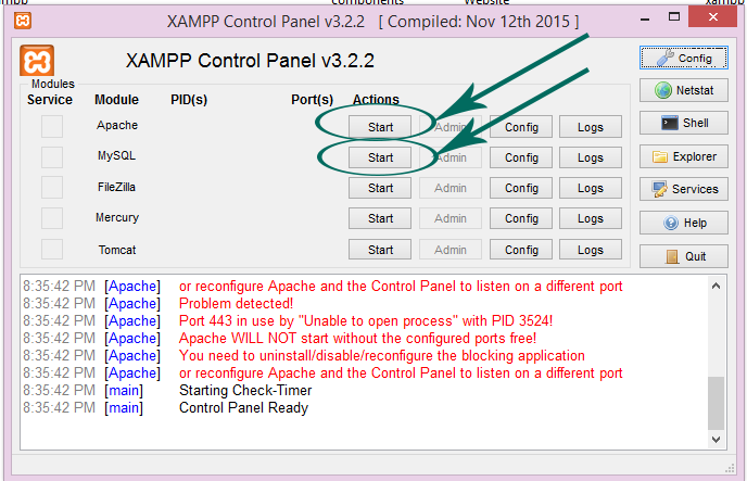xampp control panel v322
