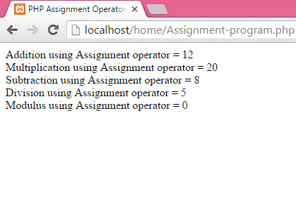 PHP Assignment Operators example tutorial