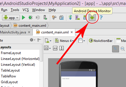 take screenshot in android emulator in android studio