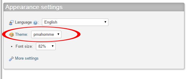 Change UI theme in phpmyadmin control panel xampp localhost