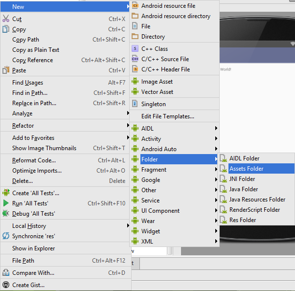 Create assets folder in android studio - Android Examples