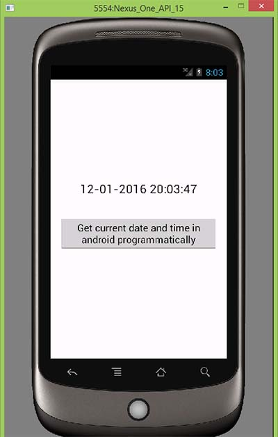 Get current date and time in android programmatically
