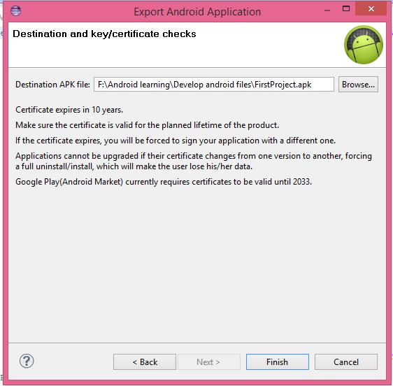 destination and key certificate checks