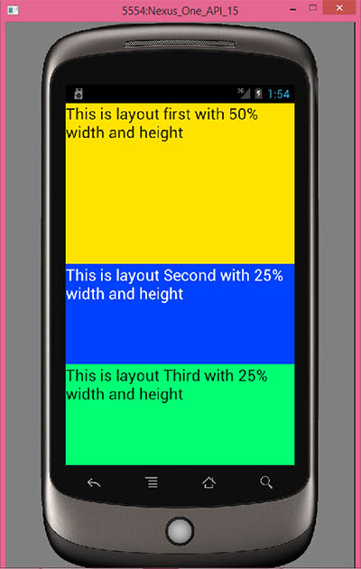 Set height and width in percentage format in layout android