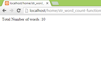 Use str_word_count function in php to count number of words in string