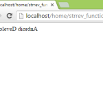 Reverse string variable using strrev function in php