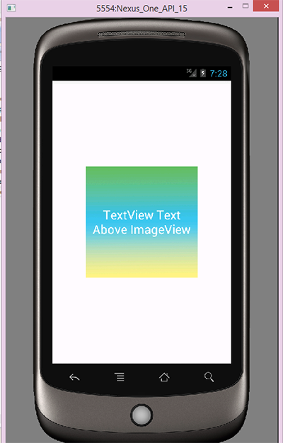 Android overlay textview over imageview example via xml