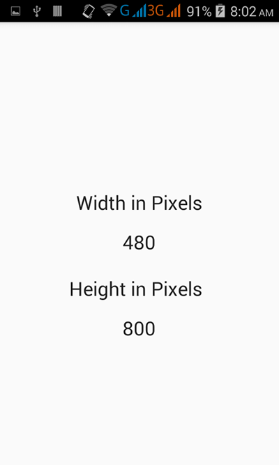 Get screen dimensions in pixels in android programmatically