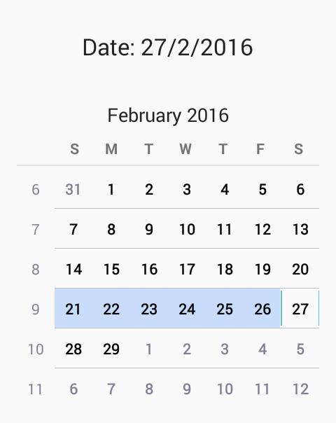 Android Show Calendarview Widget Example Tutorial With