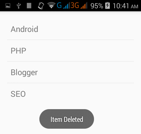 Remove selected listview item in android on long click