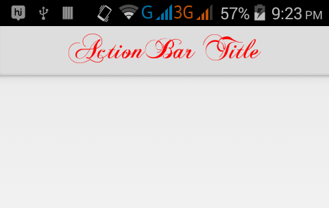 Set custom external font style on ActionBar inside title text in Android