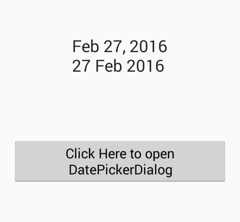 Change DatePickerDialog selected date format in android