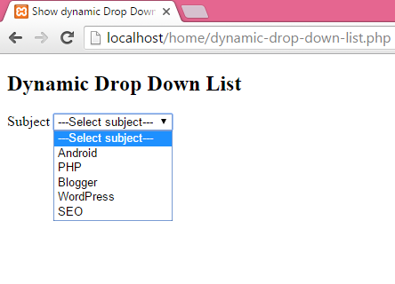 Show dynamic Drop Down List in PHP by fetching MySQL database data