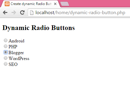Create dynamic Radio Button in PHP using MySQL db data