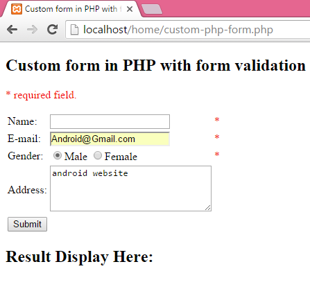 Create custom form in PHP with form validation required field
