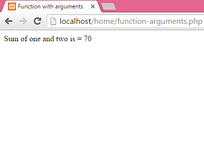 How to create function in php with arguments