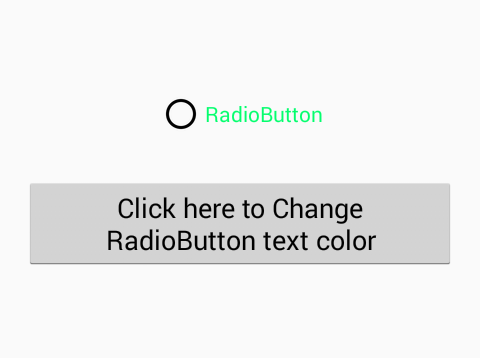 Change RadioButton text color programmatically in android on button
