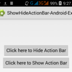 Show Hide ActionBar in android programmatically on button click