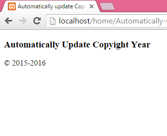 Automatically update CopyRight year in php website footer example