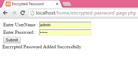 PHP Store/Insert encrypted password in MySQL database using php