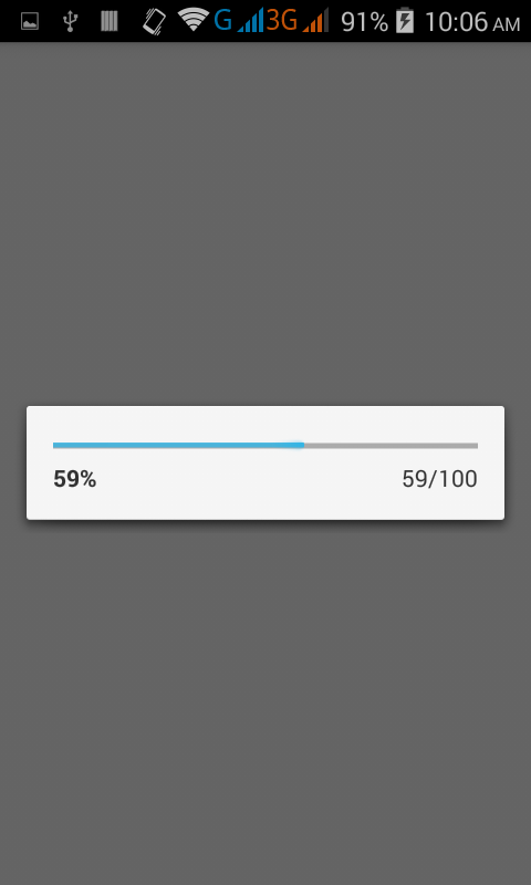 Create Show Progress Dialog with percentage text inside in