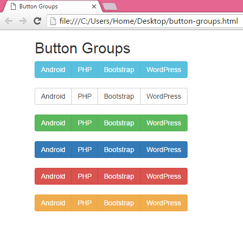 Create horizontal menu button groups using bootstrap in for Html side menu bar template