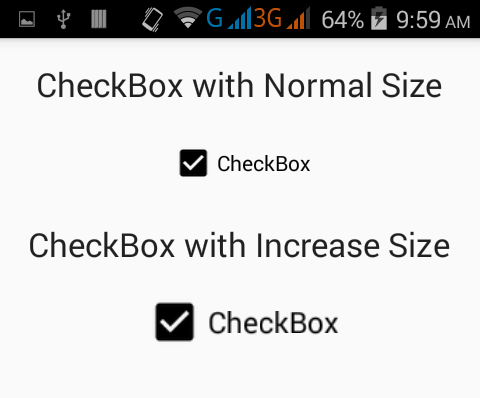 Increase/Change checkbox size in android using XML