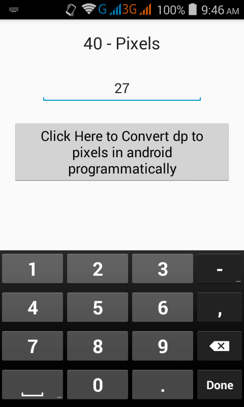 Calculate/Convert dp to pixels in android programmatically