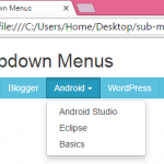 Create horizontal menu with dropdown navigation sub menus using Bootstrap CSS classes in HTML,PHP