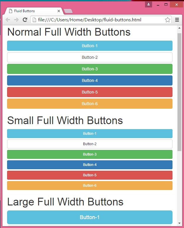 Create full fluid parent width container Buttons using Bootstrap classes in HTML,PHP